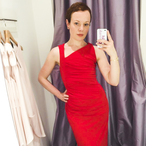 Woman in red: Sarah proves that #breastfree is still feminine, flirty, sultry, sexy and still #allwoman