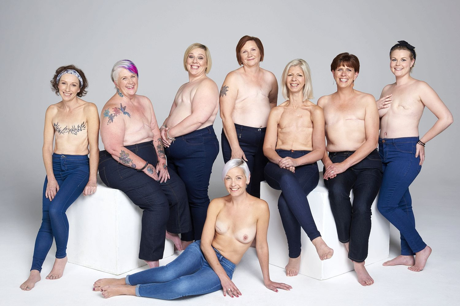 Eight breast cancer sufferers support the #showyourscar campaign