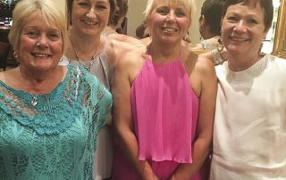 Karen (in pink) with her Flat Friends (left to right) Roz White, Sue Yates and Julie Brandram Jones